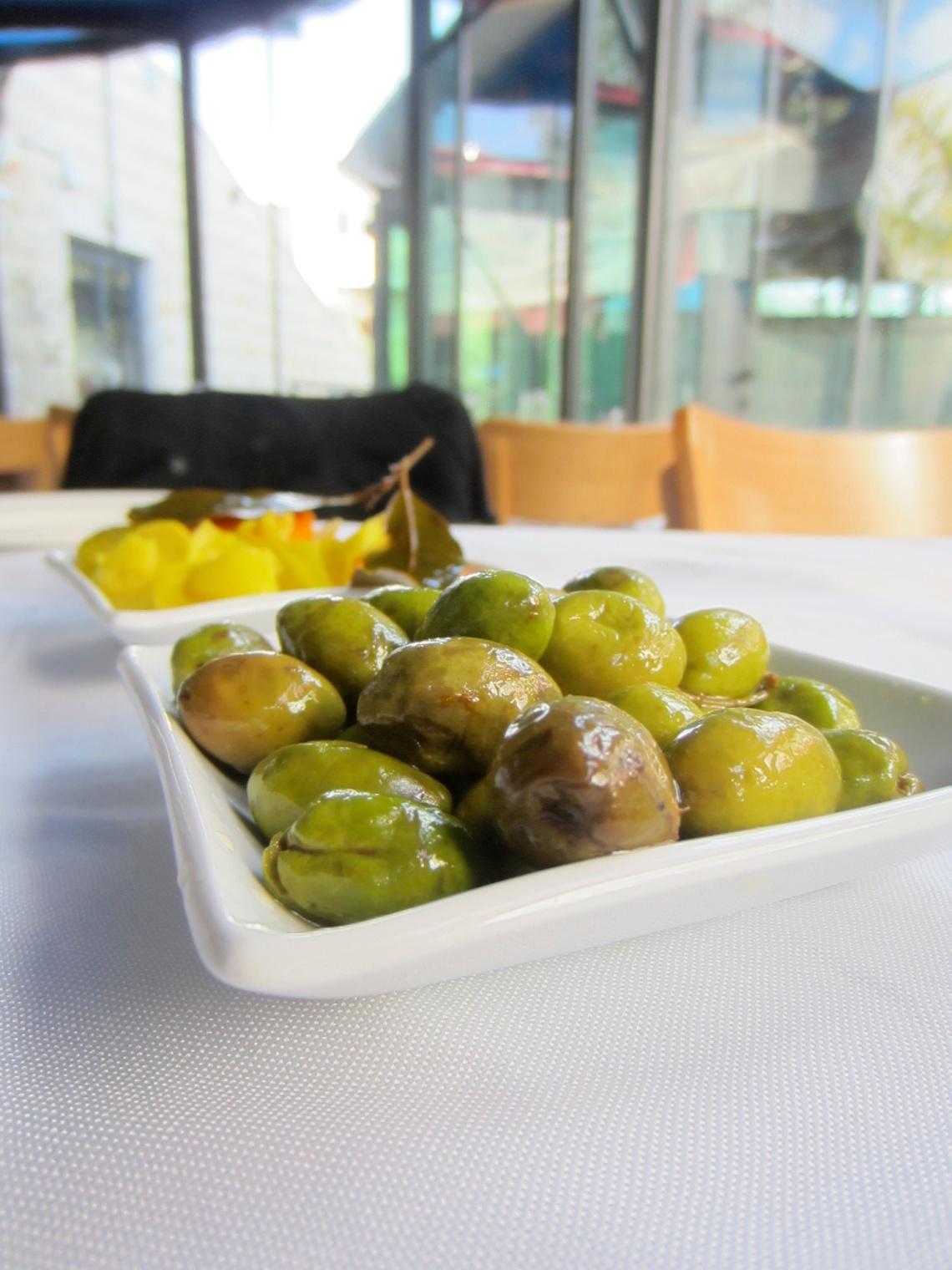 Olives served at an Arab-Israeli restaurant outside of Jerusalem