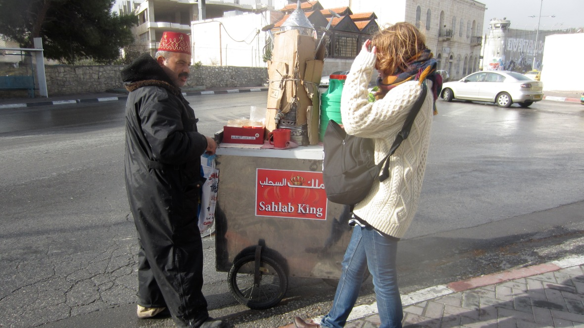 Man selling Arabic dessert in Bethlehem on the West Bank