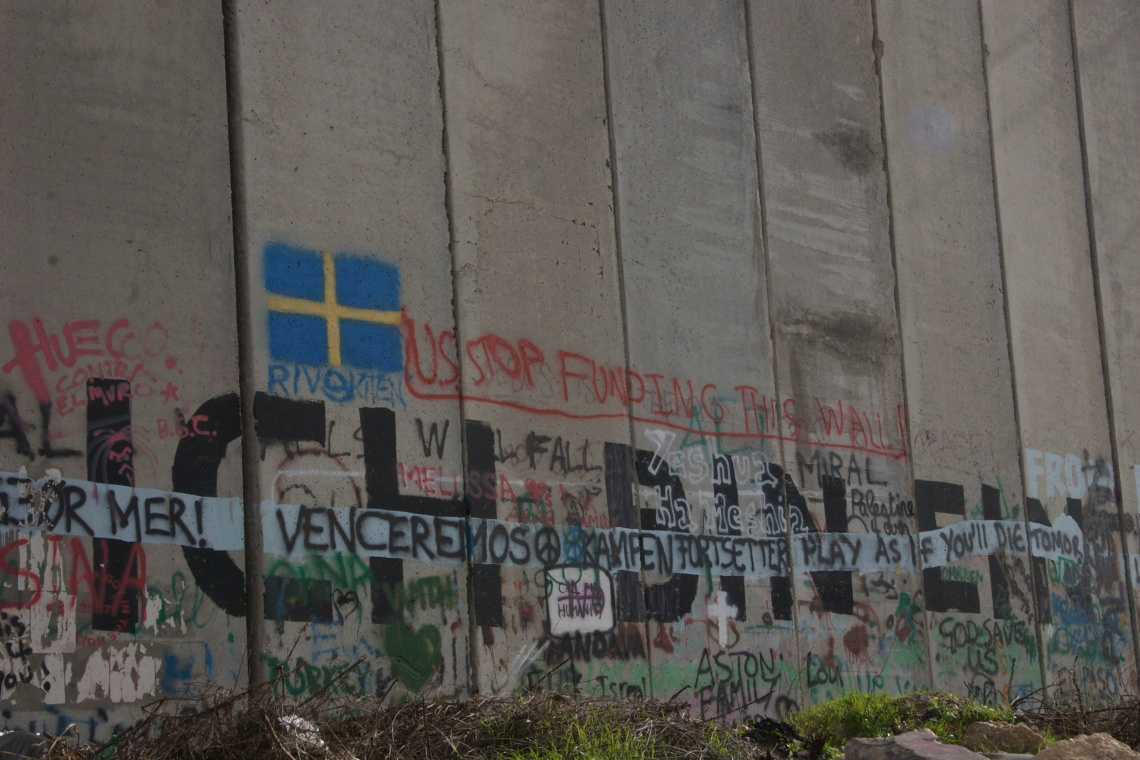 Graffiti on the West Bank Barrier, which is over 700 kilometre long and runs between Israel and the West Bank